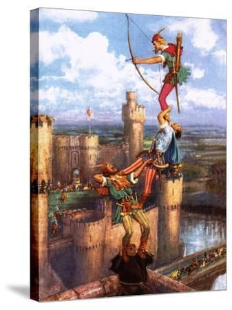 Robin Hood Shooting into Nottingham Castle-John Millar Watt-Stretched Canvas Print