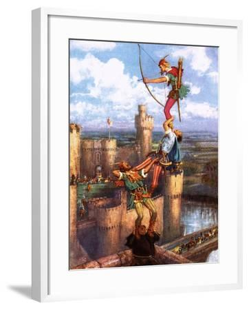 Robin Hood Shooting into Nottingham Castle-John Millar Watt-Framed Giclee Print