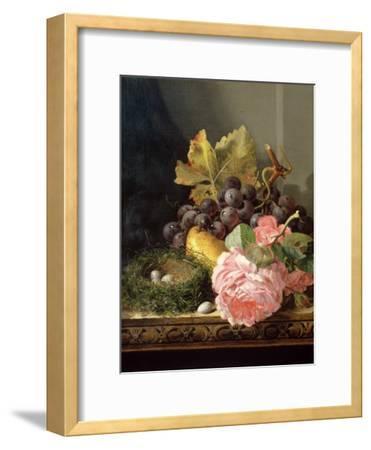 Still Life, Roses, Fruit and Bird's Nest-Edward Ladell-Framed Giclee Print