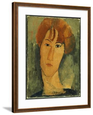 Young Woman with Red Hair Wearing a Collar-Amedeo Modigliani-Framed Giclee Print