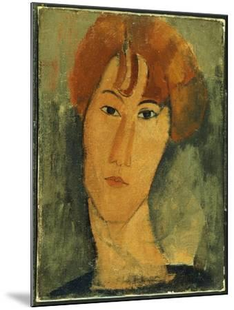 Young Woman with Red Hair Wearing a Collar-Amedeo Modigliani-Mounted Giclee Print