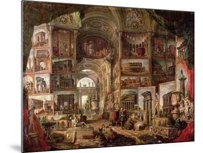 Interior of an Imaginary Picture Gallery-Giovanni Paolo Pannini-Mounted Giclee Print