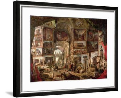 Interior of an Imaginary Picture Gallery-Giovanni Paolo Pannini-Framed Giclee Print