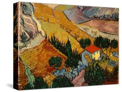 Landscape with House and Ploughman, 1889-Vincent van Gogh-Stretched Canvas Print