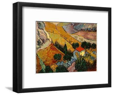 Landscape with House and Ploughman, 1889-Vincent van Gogh-Framed Premium Giclee Print