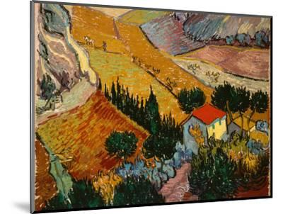 Landscape with House and Ploughman, 1889-Vincent van Gogh-Mounted Premium Giclee Print