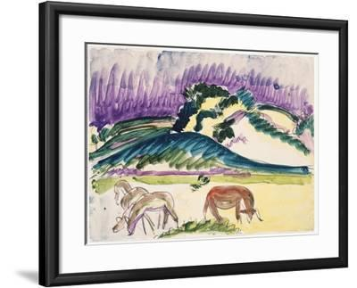 Cows in the Pasture by the Dunes, 1913-Ernst Ludwig Kirchner-Framed Giclee Print
