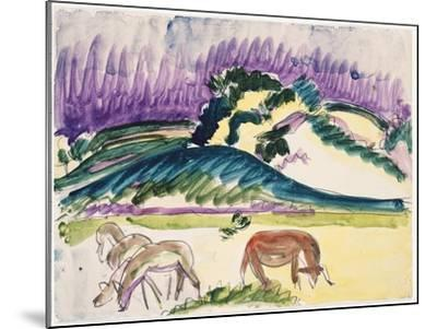 Cows in the Pasture by the Dunes, 1913-Ernst Ludwig Kirchner-Mounted Giclee Print