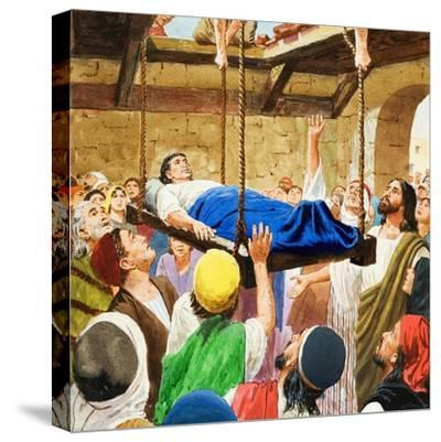 The Miracles of Jesus: Healing the Lame Man-Clive Uptton-Stretched Canvas Print