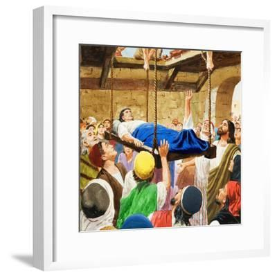 The Miracles of Jesus: Healing the Lame Man-Clive Uptton-Framed Giclee Print