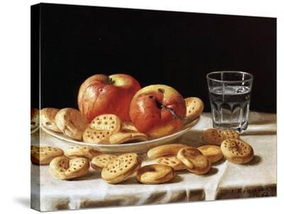 Still Life with Apples and Biscuits, 1862-John F^ Francis-Stretched Canvas Print