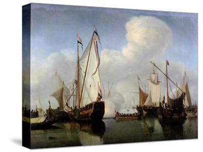 A Calm: a Dutch States Yacht Firing a Salute-Willem Van De, The Younger Velde-Stretched Canvas Print