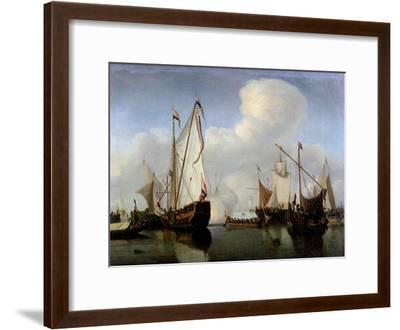 A Calm: a Dutch States Yacht Firing a Salute-Willem Van De, The Younger Velde-Framed Giclee Print