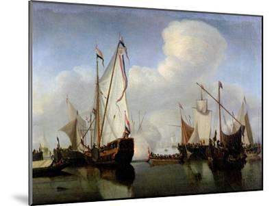 A Calm: a Dutch States Yacht Firing a Salute-Willem Van De, The Younger Velde-Mounted Giclee Print