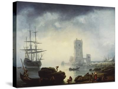 A Mediterranean Harbour Scene: Morning, 1745-Claude Joseph Vernet-Stretched Canvas Print