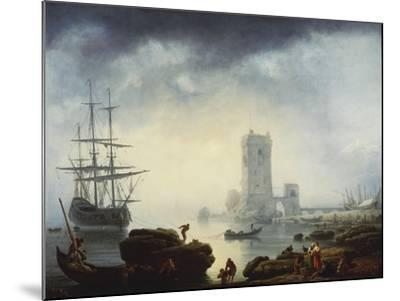 A Mediterranean Harbour Scene: Morning, 1745-Claude Joseph Vernet-Mounted Giclee Print