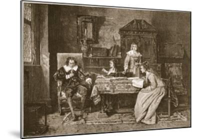 Milton Dictating 'Paradise Lost'-Mihaly Munkacsy-Mounted Giclee Print