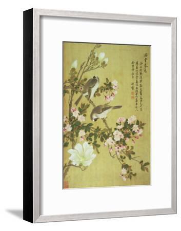 Crabapple, Magnolia and Baitou Birds-Ma Yuanyu-Framed Giclee Print