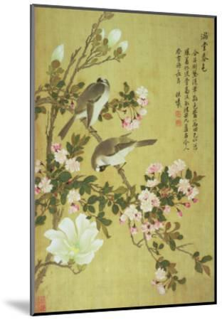 Crabapple, Magnolia and Baitou Birds-Ma Yuanyu-Mounted Giclee Print