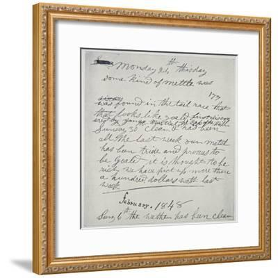 Diary Entry of Gold Prospector, 1848-American School-Framed Giclee Print