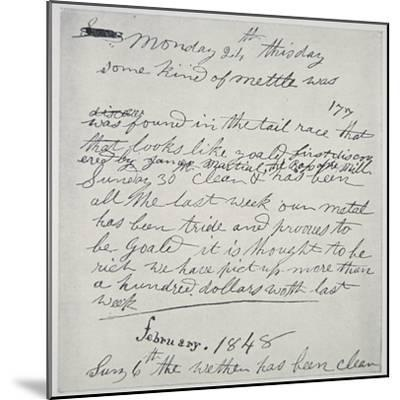 Diary Entry of Gold Prospector, 1848-American School-Mounted Giclee Print