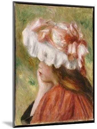 Head of a Young Girl in a Red Hat-Pierre-Auguste Renoir-Mounted Giclee Print