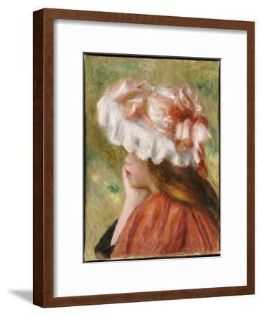 Head of a Young Girl in a Red Hat-Pierre-Auguste Renoir-Framed Giclee Print