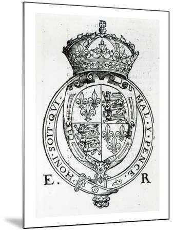 Coat of Arms of Queen Elizabeth I-English School-Mounted Giclee Print