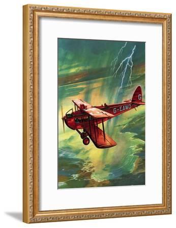 Airliner Struck by Lightning-English School-Framed Giclee Print