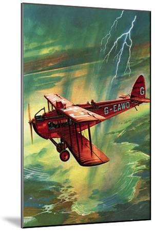 Airliner Struck by Lightning-English School-Mounted Giclee Print