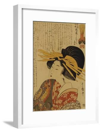 A Courtesan Raising Her Sleeve-Kitagawa Utamaro-Framed Giclee Print