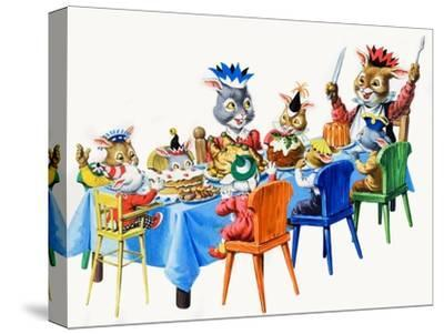 Brer Rabbit's Christmas Meal-Virginio Livraghi-Stretched Canvas Print