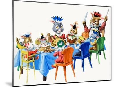 Brer Rabbit's Christmas Meal-Virginio Livraghi-Mounted Giclee Print