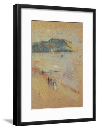 Figures on a Beach Near Cliffs-James Abbott McNeill Whistler-Framed Giclee Print