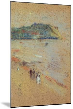 Figures on a Beach Near Cliffs-James Abbott McNeill Whistler-Mounted Giclee Print