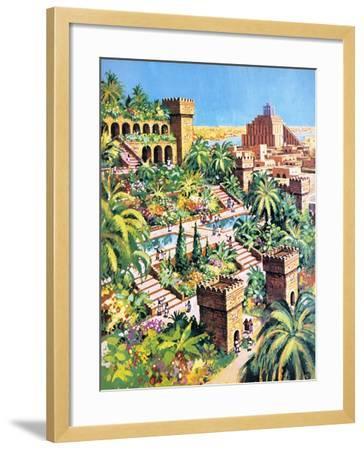 The Hanging Gardens of Babylon- Green-Framed Giclee Print