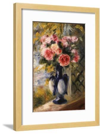 Roses in a Blue Vase, 1892-Pierre-Auguste Renoir-Framed Giclee Print