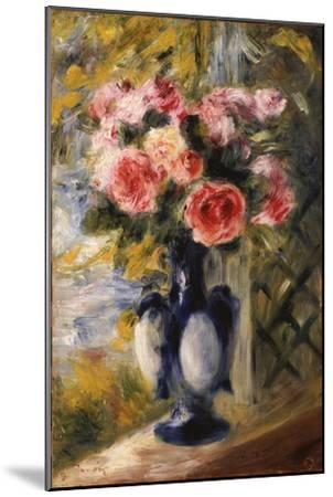 Roses in a Blue Vase, 1892-Pierre-Auguste Renoir-Mounted Giclee Print