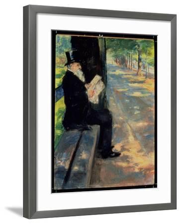 Gentleman in a Zoo, C.1900-Lesser Ury-Framed Giclee Print
