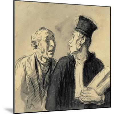 The Lawyer and His Client-Honore Daumier-Mounted Giclee Print