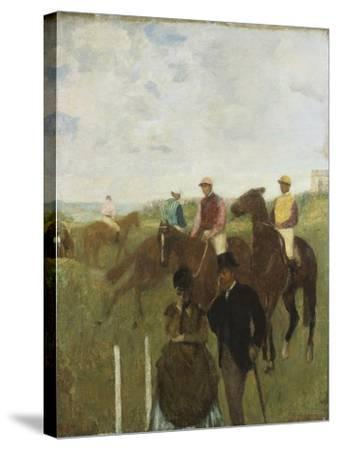 Jockeys at the Racecourse-Edgar Degas-Stretched Canvas Print