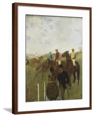 Jockeys at the Racecourse-Edgar Degas-Framed Giclee Print