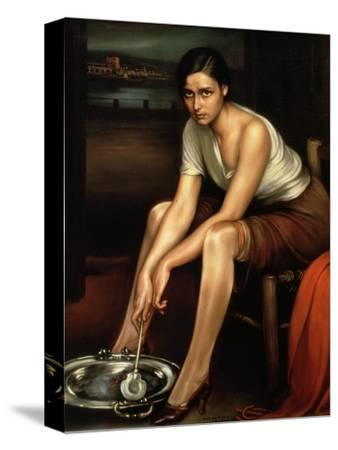 The Alluring Young Girl-Julio Romero de Torres-Stretched Canvas Print