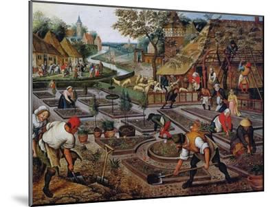 Gardening, C.1637-38-Pieter Brueghel the Younger-Mounted Giclee Print