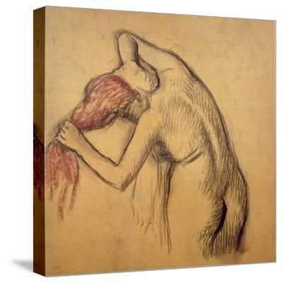 Woman Drying Herself-Edgar Degas-Stretched Canvas Print