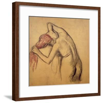 Woman Drying Herself-Edgar Degas-Framed Giclee Print