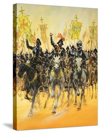 Spanish Conquistadors-Graham Coton-Stretched Canvas Print