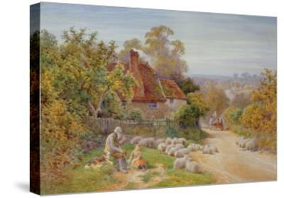 A Rest by the Way-Charles James Adams-Stretched Canvas Print