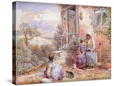 The Story Book-Myles Birket Foster-Stretched Canvas Print