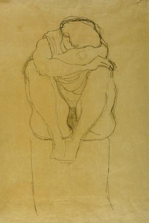 Seated Woman-Gustav Klimt-Stretched Canvas Print